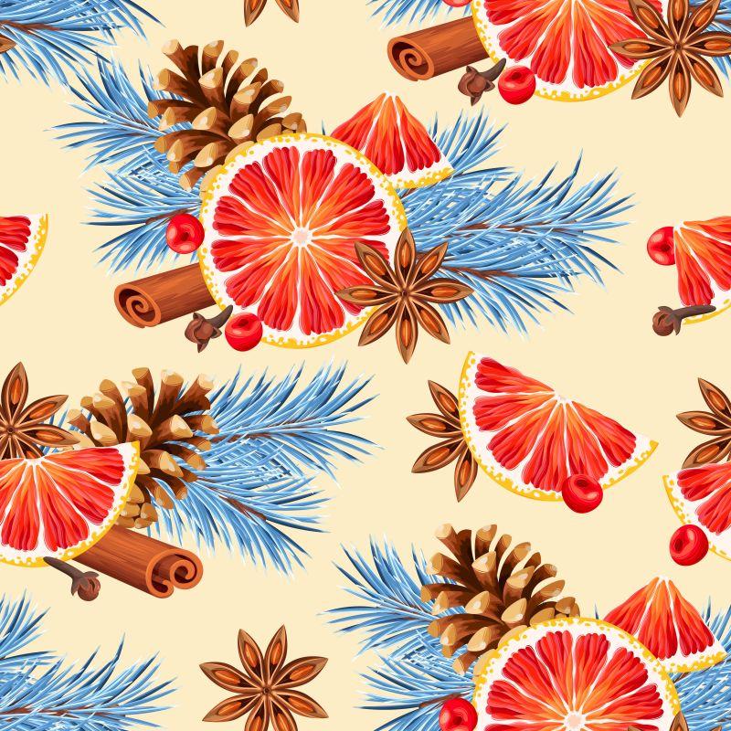 矢量红橙和八角肉桂松果等香料