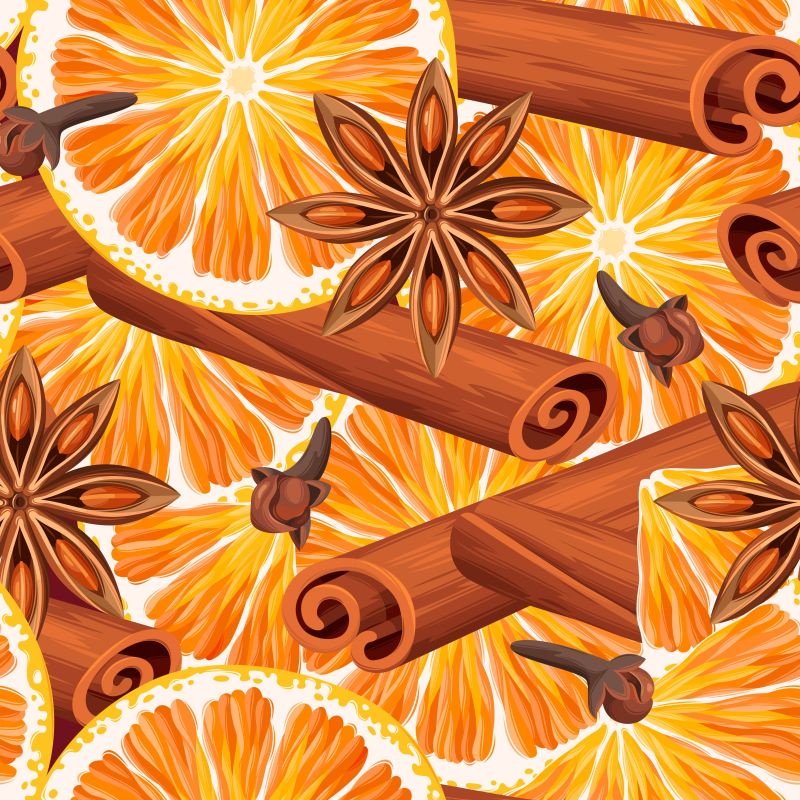 矢量橙子和八角肉桂等香料