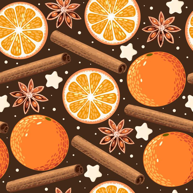 矢量橙色的橙子和八角肉桂等香料