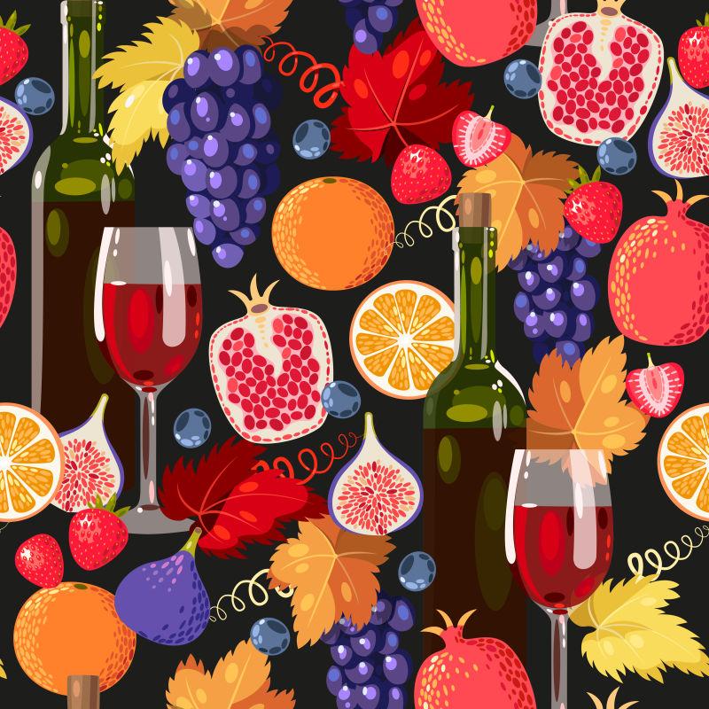 矢量切开的水果和葡萄酒