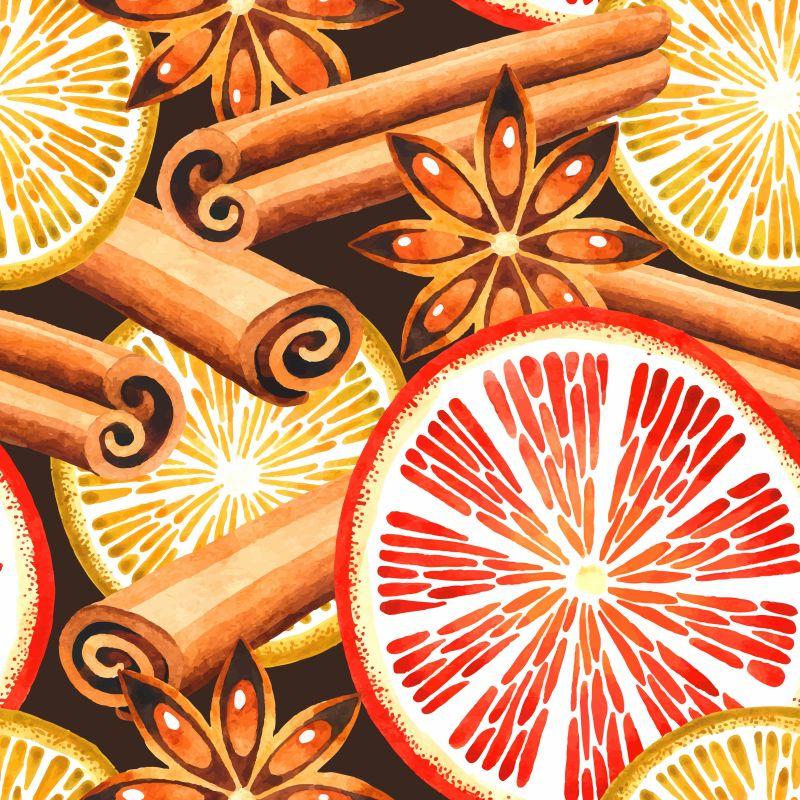 矢量橙子与肉桂