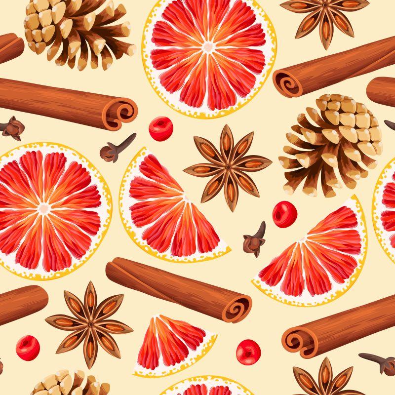 矢量红橙和松果肉桂等香料