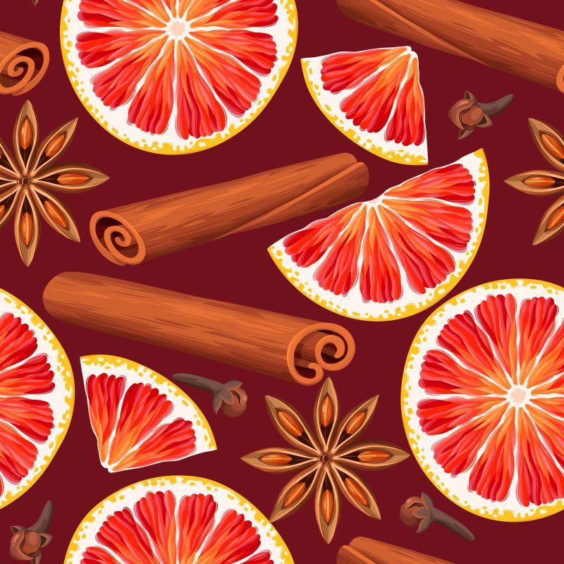 矢量红橙和八角肉桂等香料