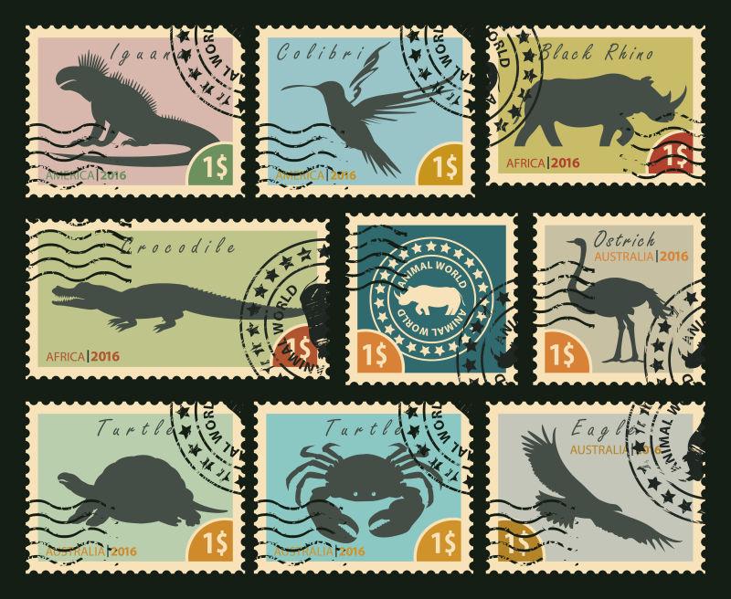 矢量以一套鸟类和野生动物为主题的老式邮票