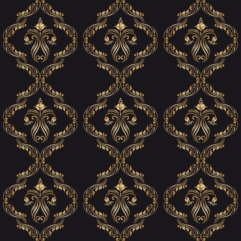 黄金刺绣花纹背景矢量图