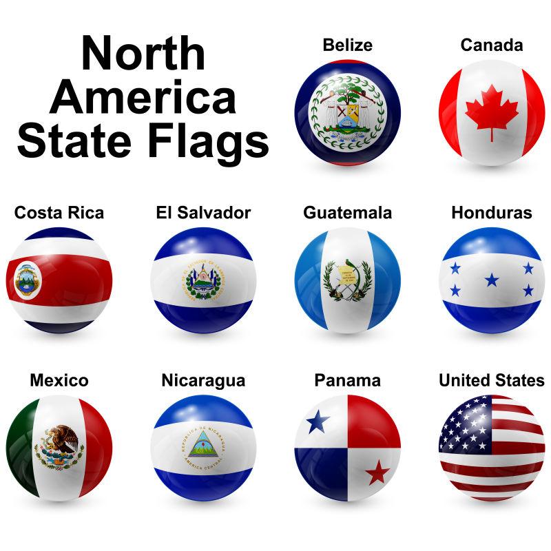 创意矢量北美洲国旗元素球体设计