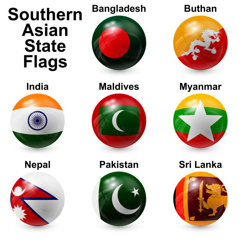 矢量南亚国家国旗元素球体设计