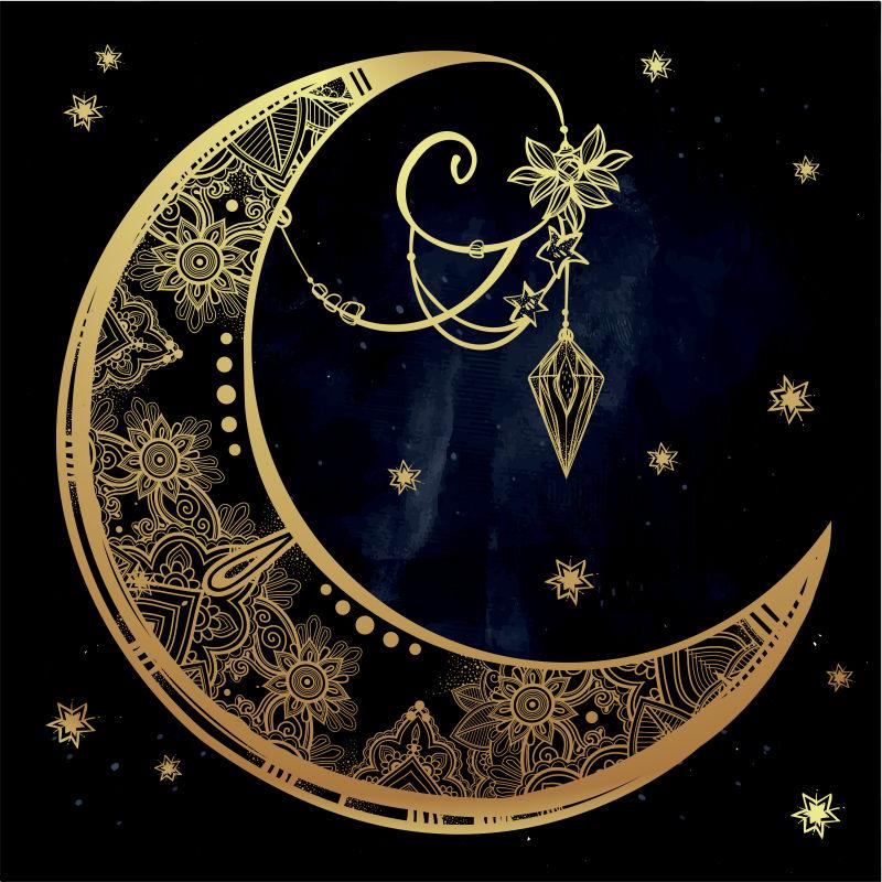 矢量的金色月亮插图