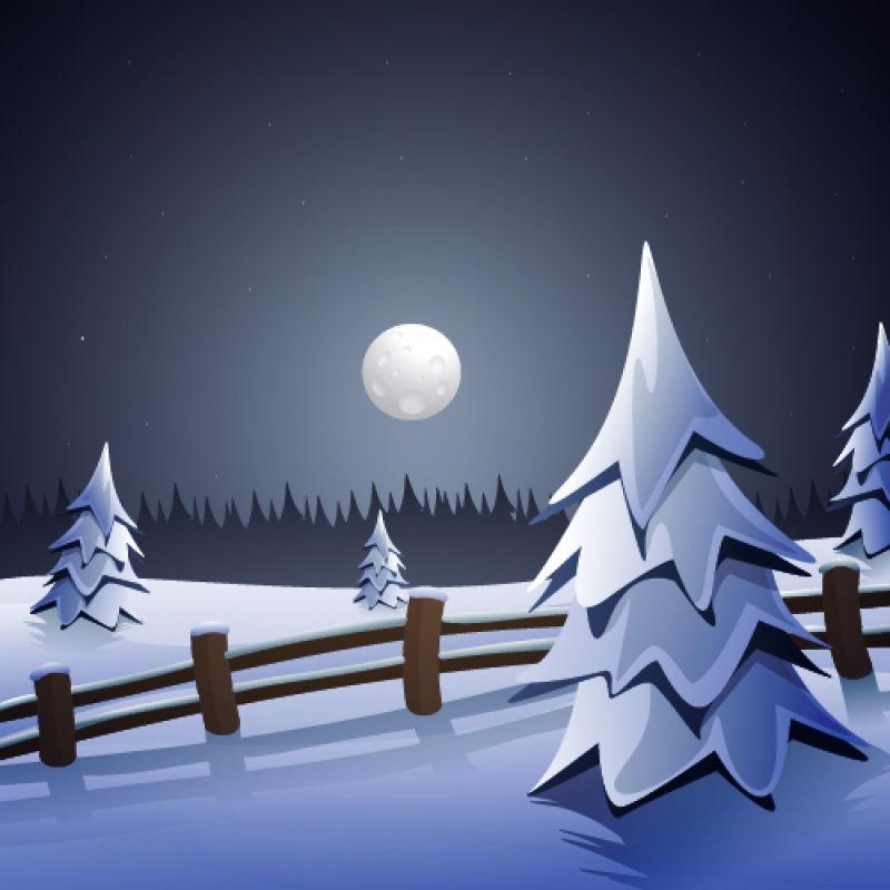 矢量圣诞雪松中的松树