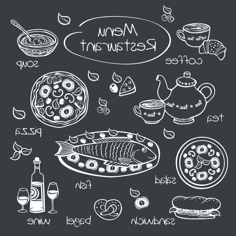 矢量餐厅菜单用粉笔在黑板上画画