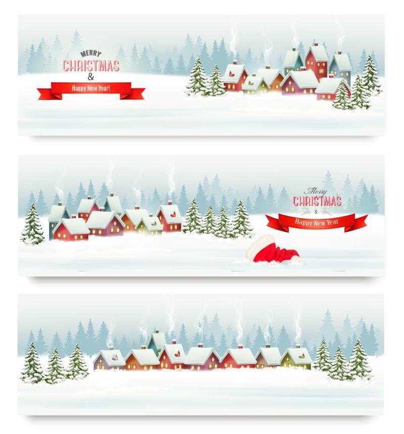 节日的圣诞旗帜有乡村和风景矢量插图