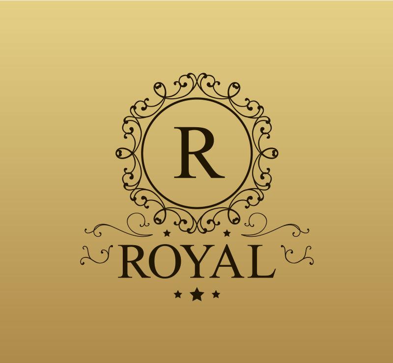 复古初始字母R标志矢量