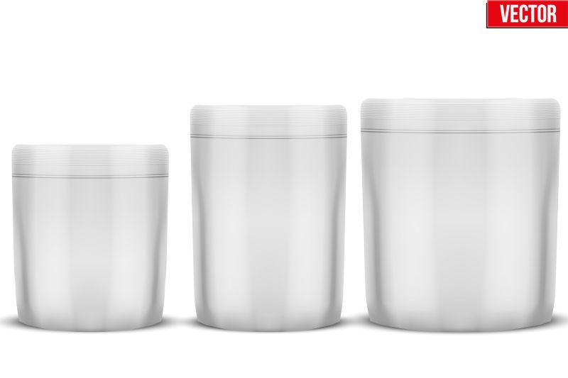 银灰色产品包装罐插图矢量设计