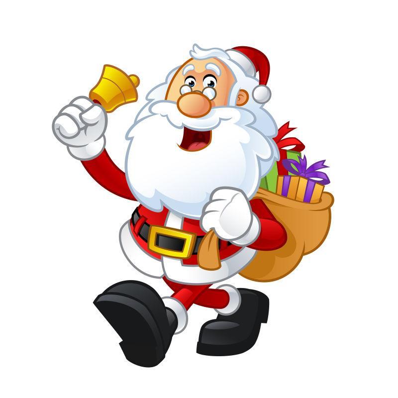矢量设计手拿铃铛背着礼物袋的圣诞老人