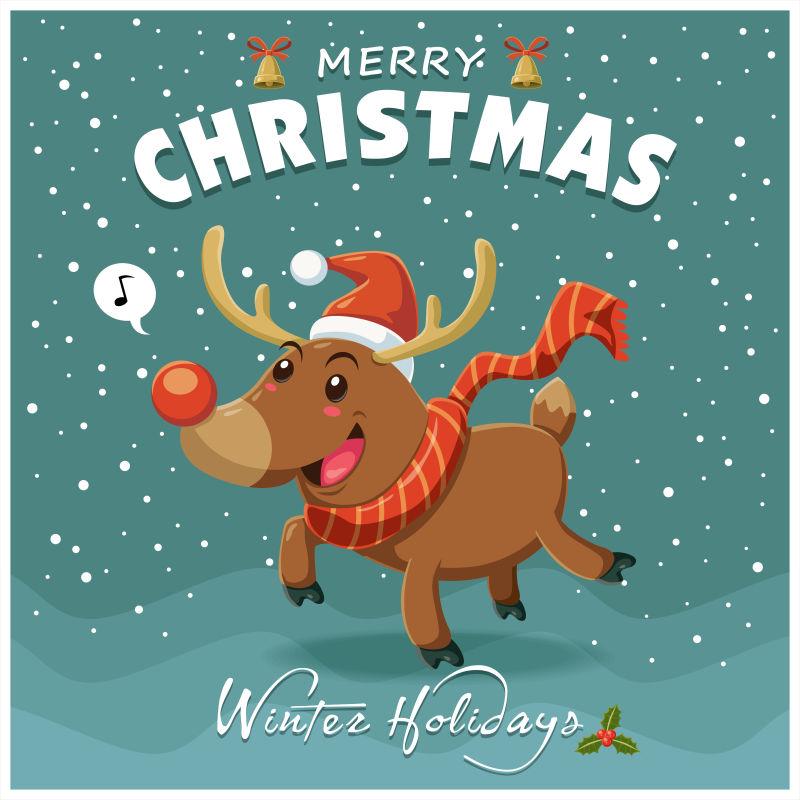 矢量老式圣诞海报设计与驯鹿性格