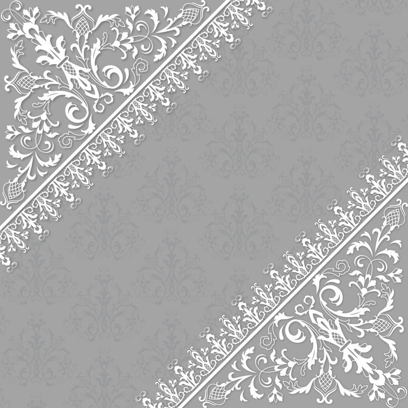 灰色花纹装饰卡片矢量设计