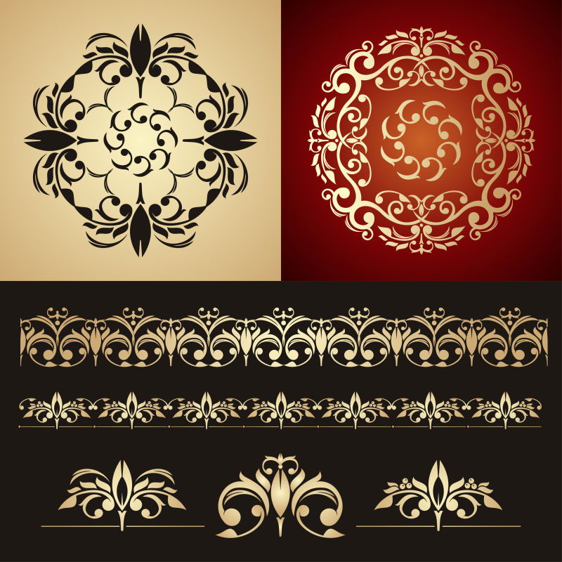 古董框架组旋涡装饰设计矢量