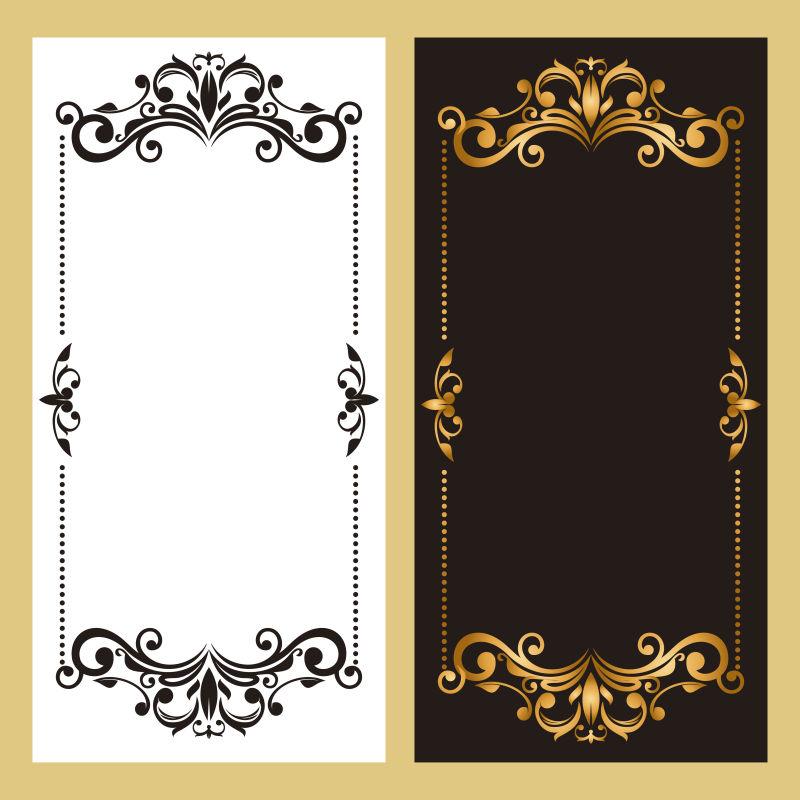 古董框架黑白色设计矢量