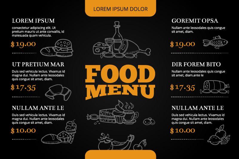 菜单矢量设计与手工涂鸦食品和饮料