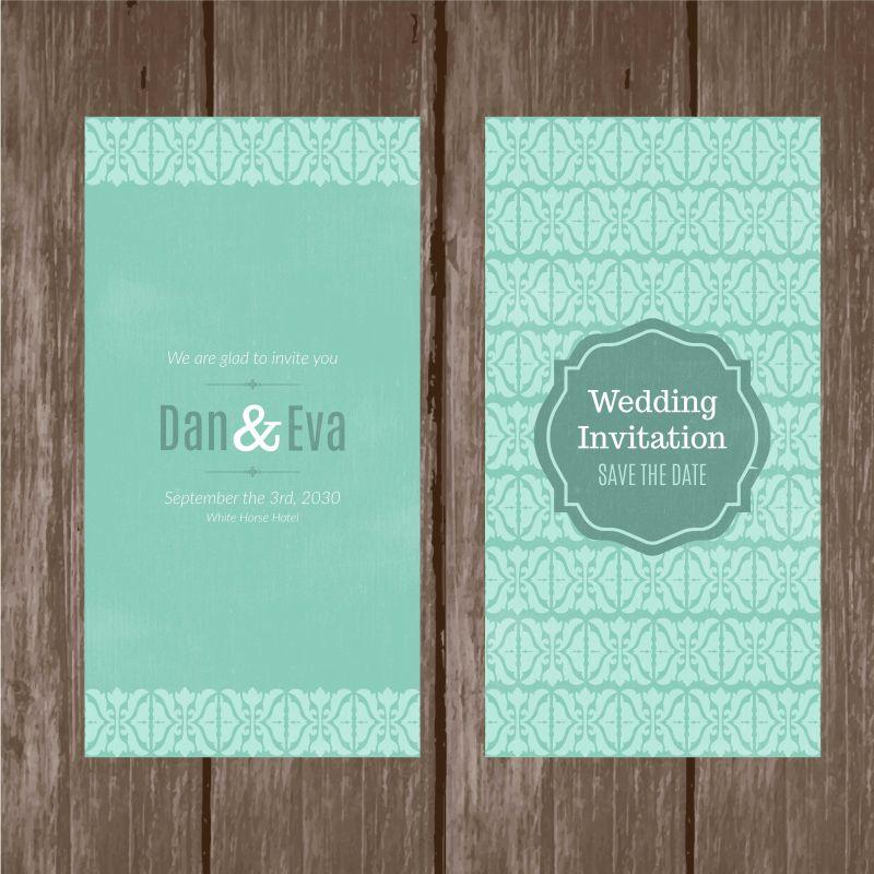 可爱的抽象形状的绿色婚礼卡