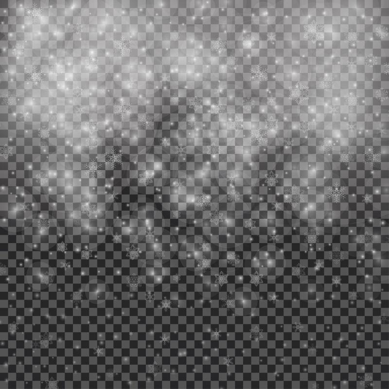 矢量冬季雪花插图