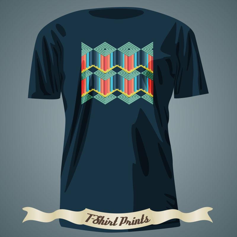 彩色抽象图案的T恤矢量设计
