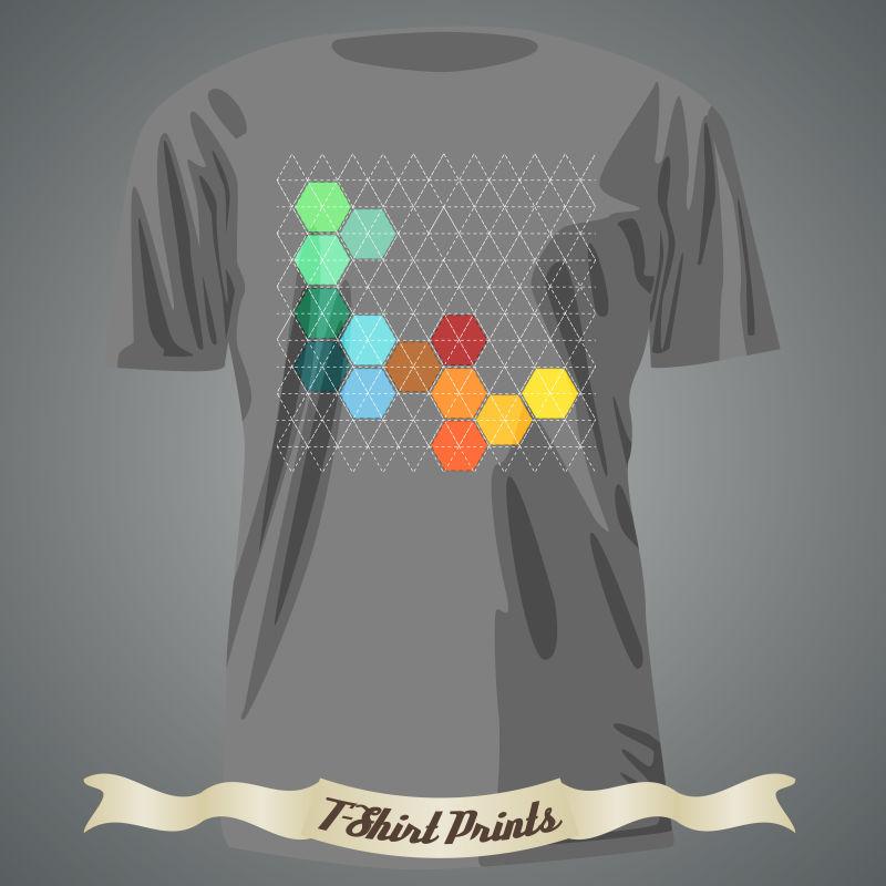 彩色拼贴图案的矢量T恤设计