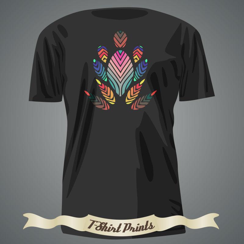 矢量抽象色彩图案的T恤设计