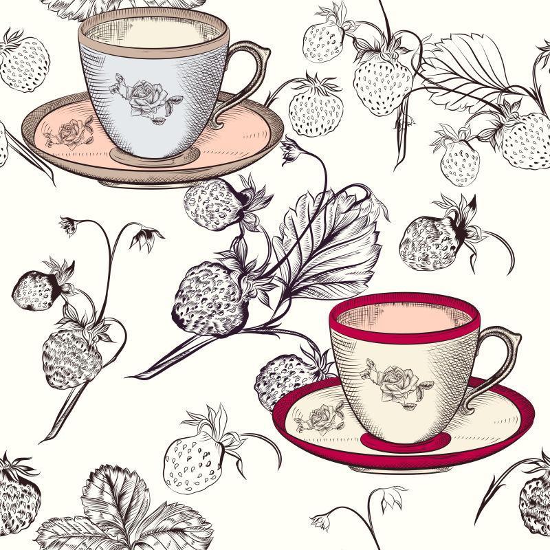 矢量草莓和杯子插图