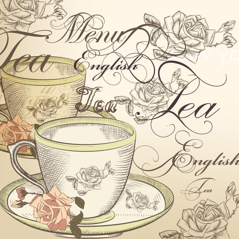 米色背景下茶杯和玫瑰的茶矢量背景