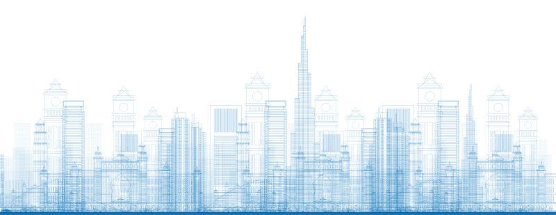 创意矢量摩登城市的设计效果图