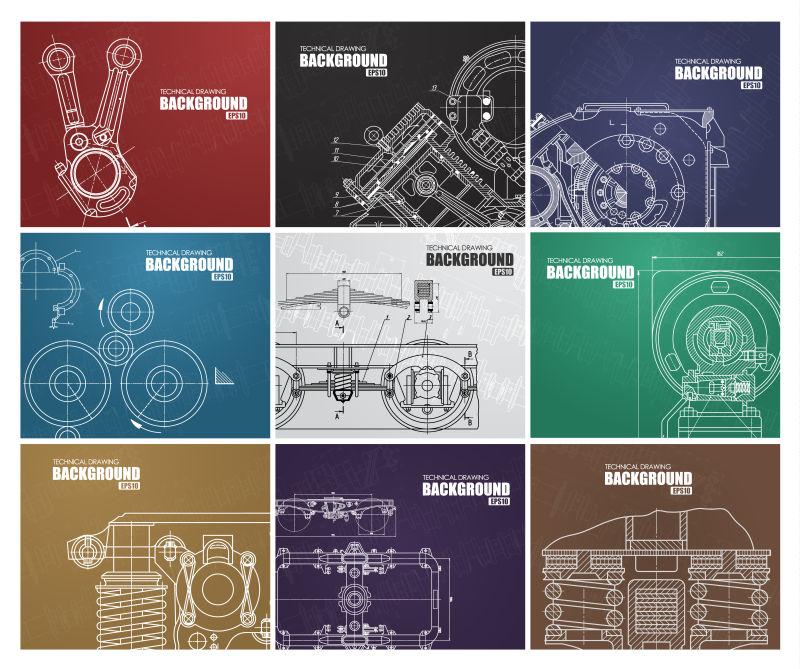 矢量手绘工业设计蓝图