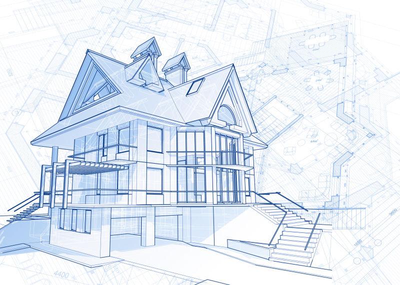 抽象矢量房屋建筑设计效果图