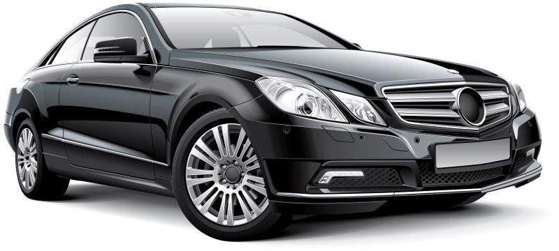 黑色的德国豪华汽车矢量插图