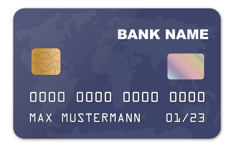 矢量蓝色地图抽象设计的信用卡