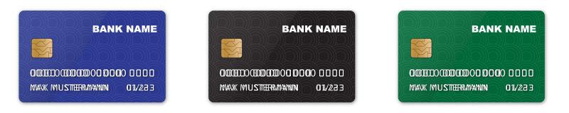 矢量三种不同颜色的信用卡