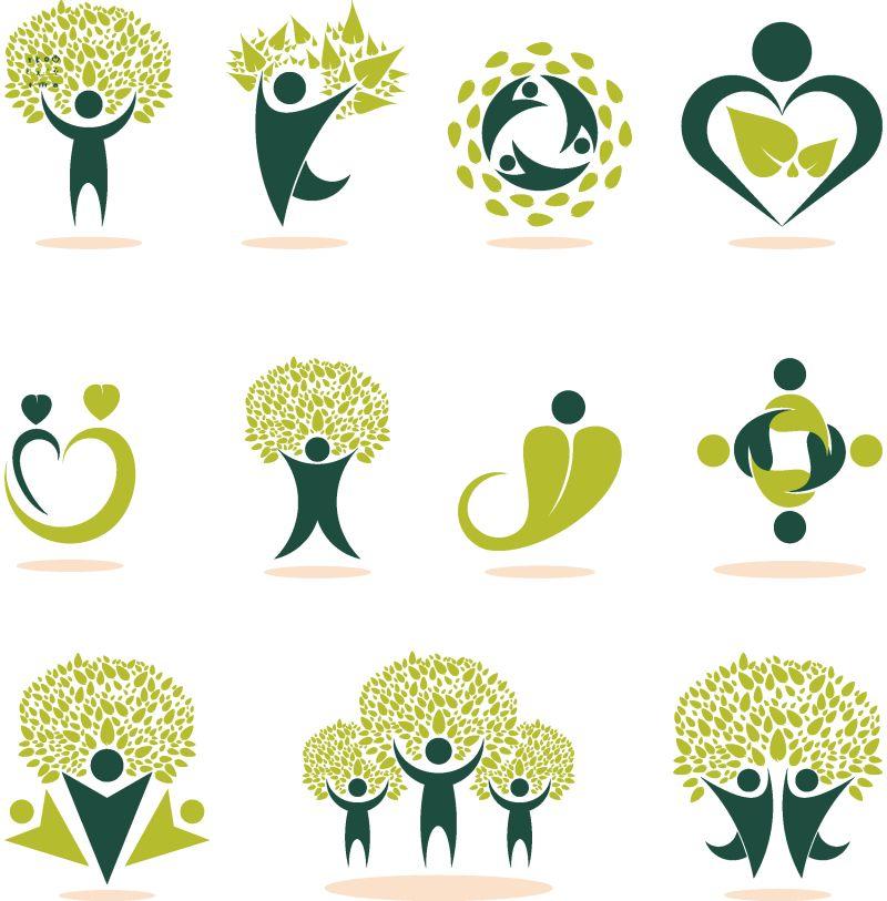 抱着绿色的树叶的人们环保矢量创意设计