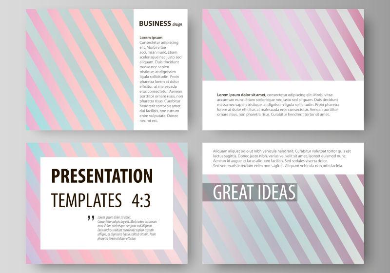 创意矢量彩色线条元素的宣传幻灯片设计