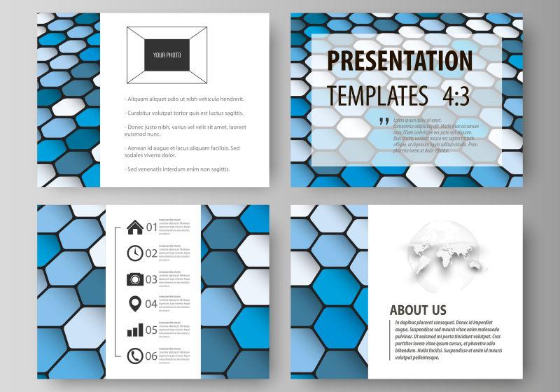 创意矢量蓝色六边形元素的宣传封面设计