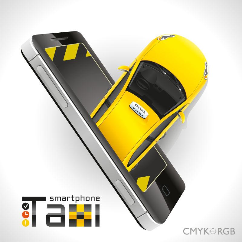 出租车在智能手机上的维修诊断矢量