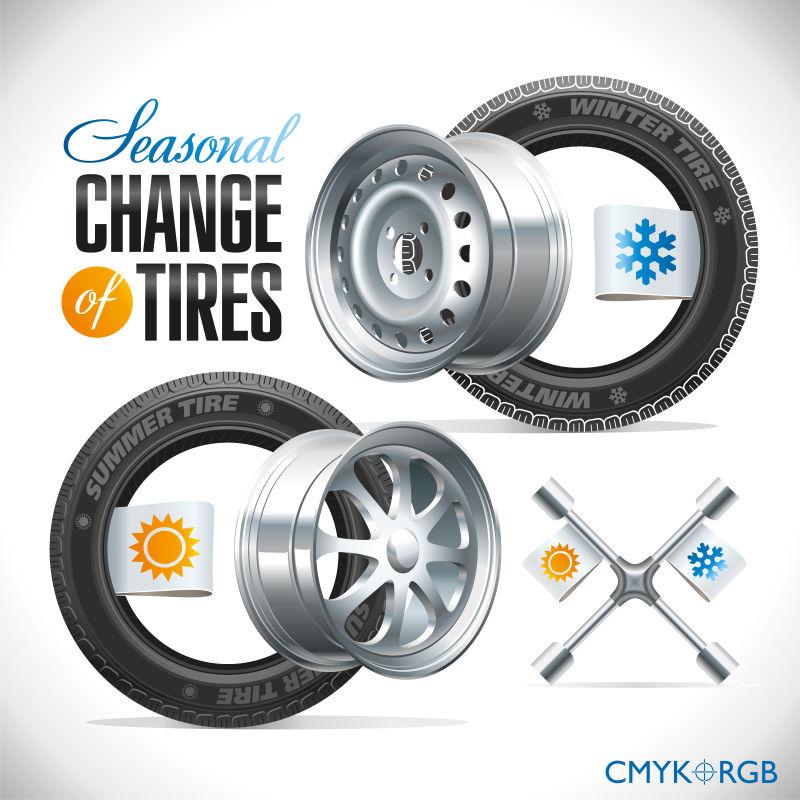 汽车轮胎上指定的季节更换标志矢量
