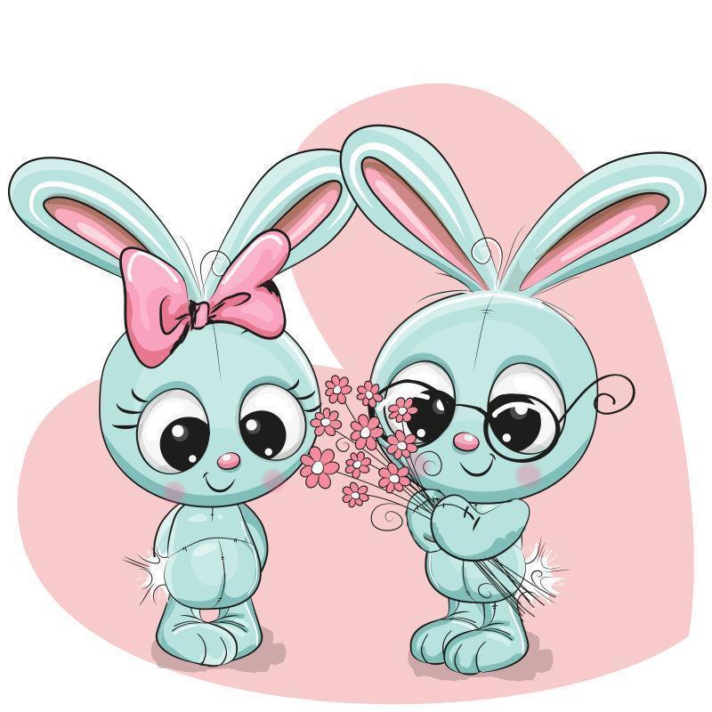 矢量兔子男孩和女孩