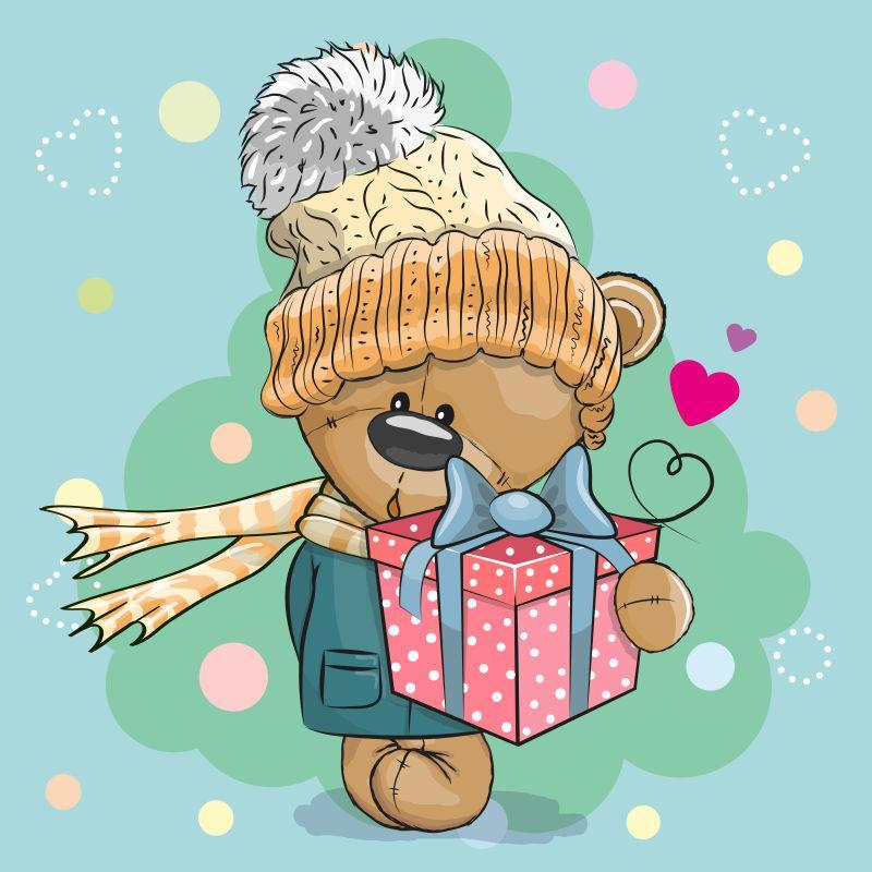 矢量可爱小熊拿着圣诞礼物