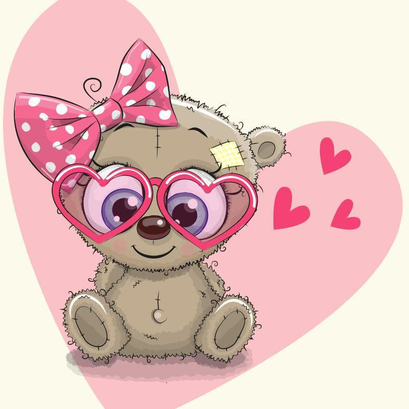 矢量可爱的熊女孩