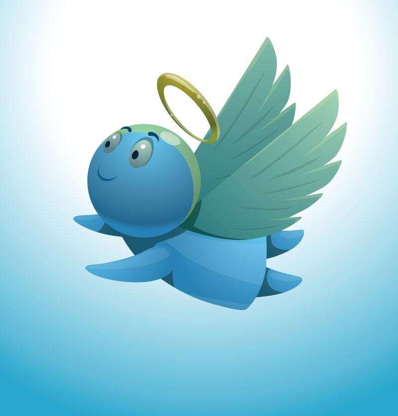 蓝色头上带有天使圆环的矢量插图
