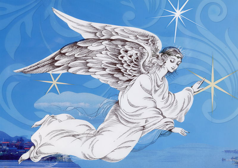带有翅膀的美丽天使插图矢量