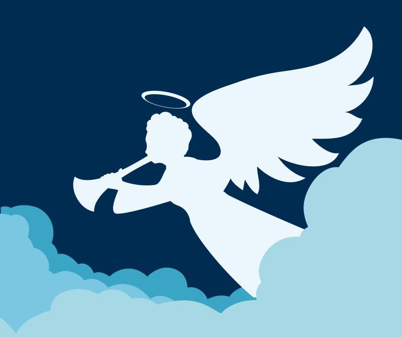 白色吹奏乐器的天使插图矢量