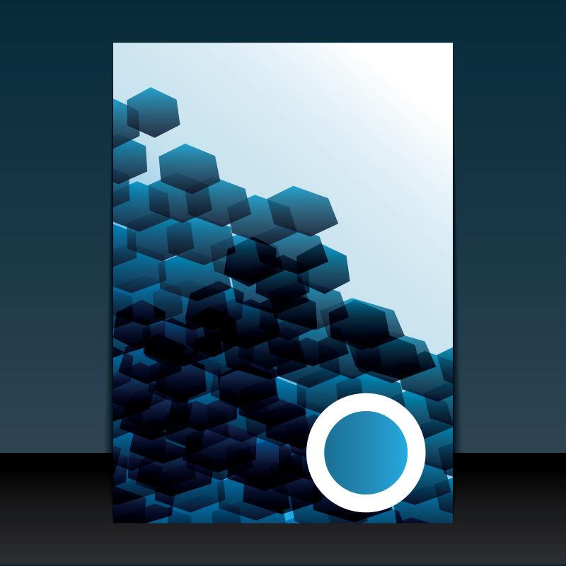 矢量抽象蓝色几何体元素宣传封面设计