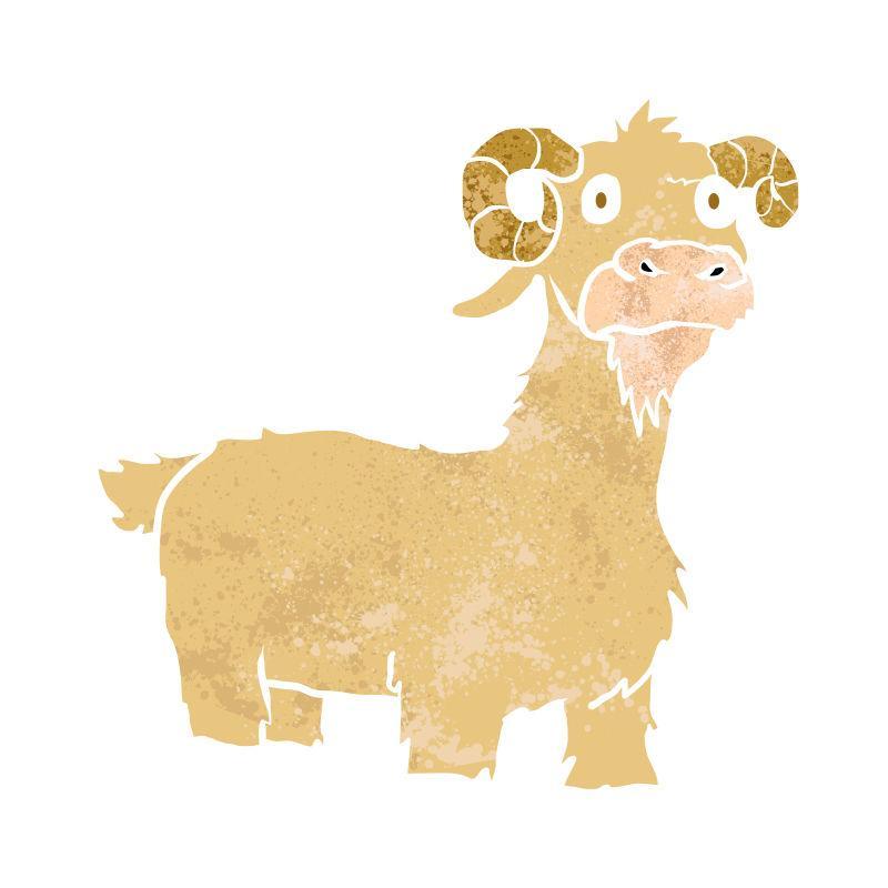 山羊卡通矢量手绘图