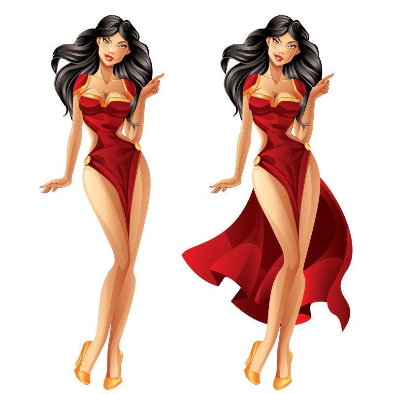 矢量时尚的卡通红衣美女